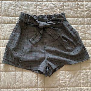 F21 plaid tie front short